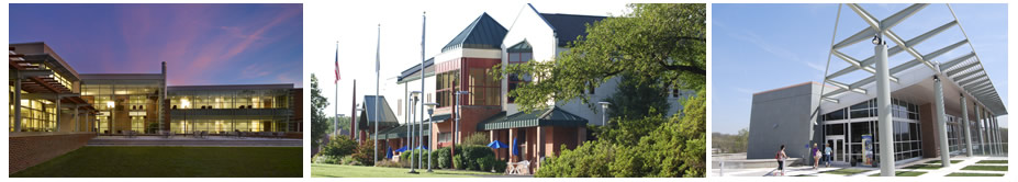 """About Bucks"" banner image: exterior photos of the main buildings at the three campuses"