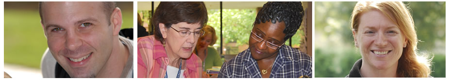 Banner image for Student Services: a male student smiles at camera, a pair of women students work together on something, and a woman student smiles at the camera.
