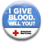 Image of I will give blood button