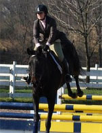 Image of rider on horse jumping