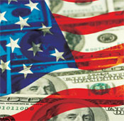 Image of American flag and dollar bills