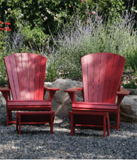 Image of 2 wooden chairs in garden