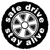 Image of tire with safe driving message