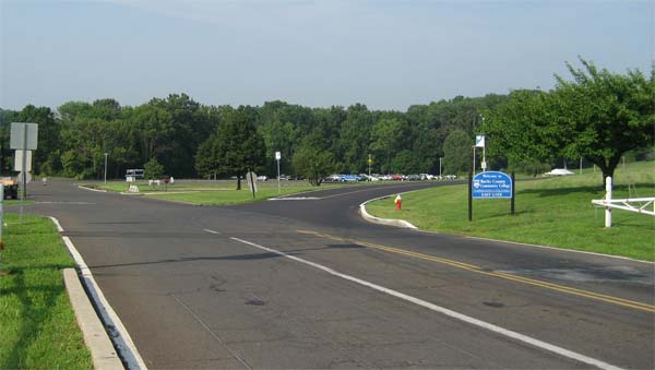 Image of road coming into campus