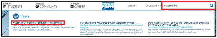 Image. Bucks County Community College website. Search box with accessibility typed out.