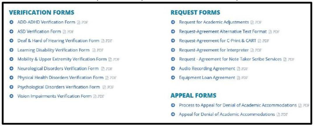 Image Forms Section. On this page, you find useful forms for students.