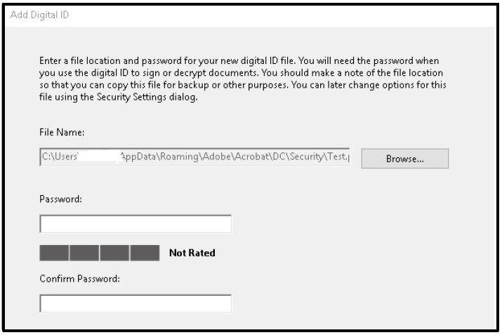 Add Digital ID window. Enter a file location and password for your new digital ID file.