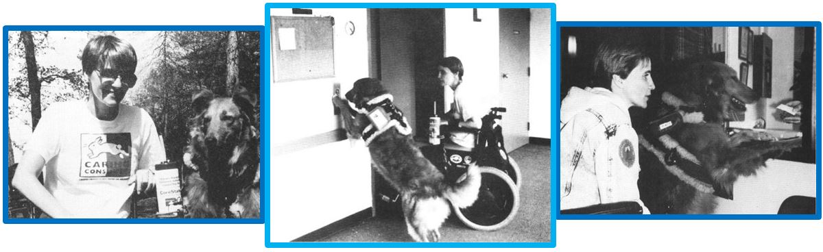 Three pictures showing Lady and Penny. From left to right, Lady and Penny posing for a picture, Lady pushing the elevator button for Penny, and Lady helping with a transaction providing the payment and retrieving the receipt for Penny.