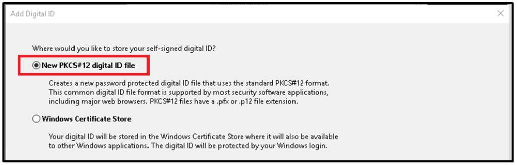 Image of Add digital ID window. This shows the PKCS#12 option being selected.