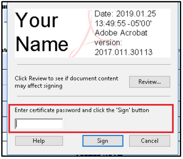 Image. Your Name, Date and Adobe Acrobat version. Password window highlighted.