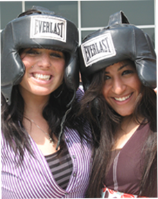Image of 2 students with head gear on
